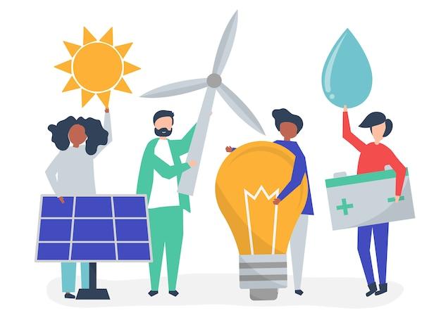 Personajes de personas con iconos de energía verde.