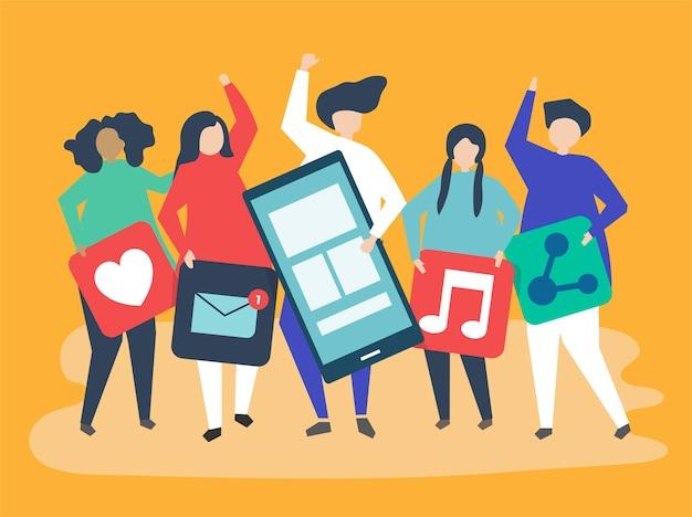 Personajes de personas con iconos de redes sociales