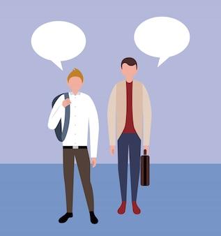 Personajes de personas de negocios con burbujas de discurso