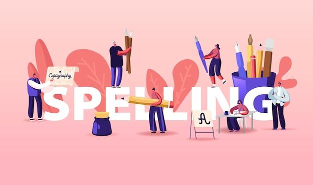 Personajes de personas ortografía y escritura de letras. ilustración de ortografía