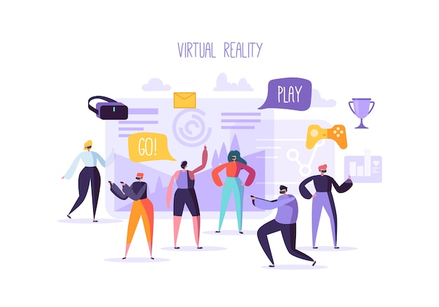 Personajes de personas planas que tienen experiencia mundial de realidad virtual