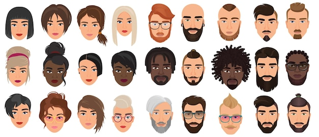 Personajes de personas, retratos faciales, cabezas de adultos con diferentes caras o cabello