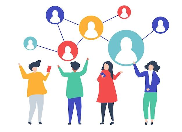 Personajes de personas y su ilustración de red social