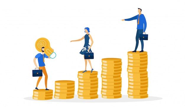 Personajes de pie en la pila de dinero con maletines.