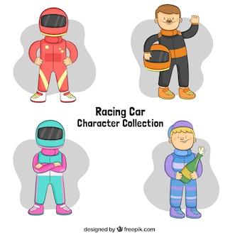 Personajes de piloto de fórmula 1 dibujados a mano