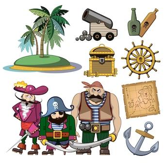 Personajes de piratas vectoriales en estilo de dibujos animados. traje y palma, anzuelo e isla, tesoro de riqueza, mapa y ron, cañón e ilustración de aventura