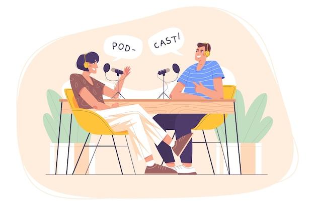 Personajes planos con auriculares y micrófono, grabación de podcast de audio o programa en línea en estudio. persona del anfitrión de la estación de radio que entrevista al invitado. gente feliz hablando de auriculares. radiodifusión de medios de comunicación masiva.