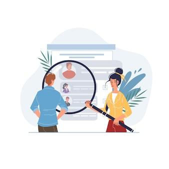 Personajes planos de dibujos animados vectoriales que pasan encuestas en línea, pruebas, exámenes y verificación de resultados en dispositivos de teléfonos móviles con pantalla, monitores - concepto de educación y examen en línea a distancia