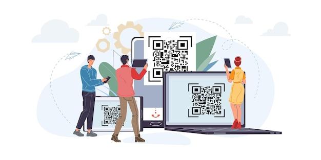 Personajes planos de dibujos animados vectoriales utilizando teléfonos inteligentes móviles, tabletas con pantalla en blanco vacía escaneando códigos qr: compras en línea, redes sociales, concepto de navegación por internet para el diseño de sitios web en línea