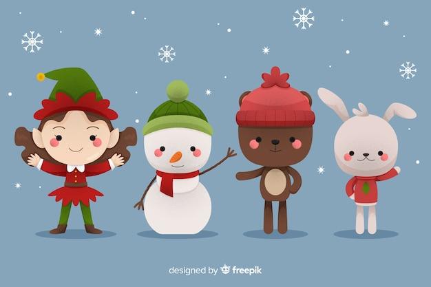 Personajes planos de navidad con copos de nieve