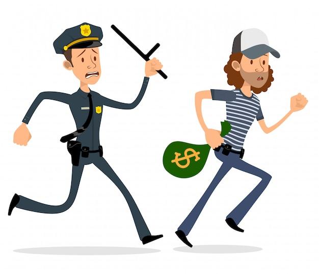 Personajes planos de policía y ladrón de dibujos animados