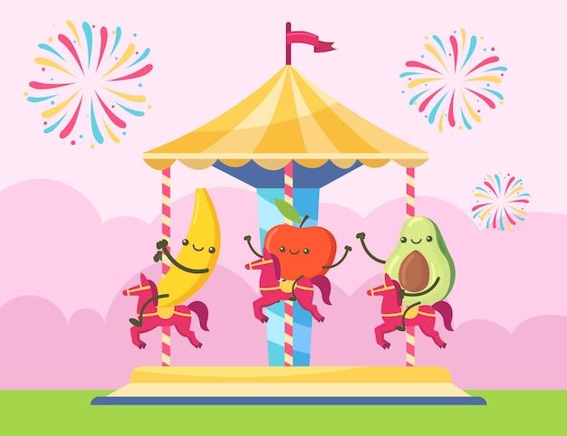 Personajes de plátano, manzana y aguacate montados en telesilla. frutas felices divirtiéndose en la ilustración de la fiesta