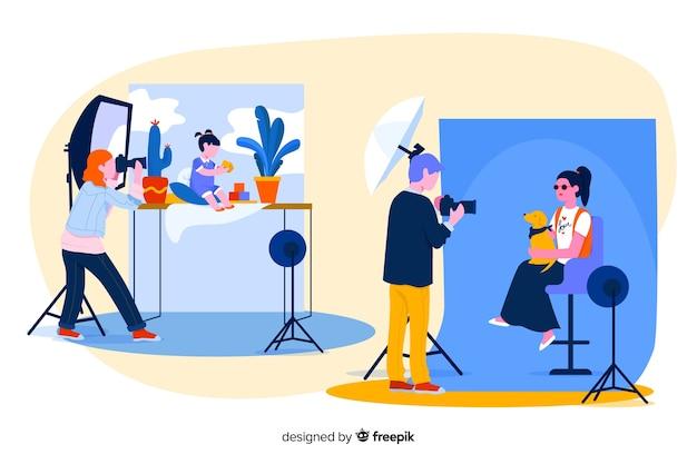 Personajes posando para la cámara ilustrada