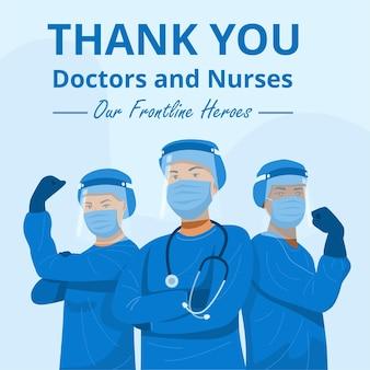 Personajes de primera línea de héroes, médicos y enfermeras con máscaras.