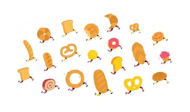 Personajes productos de panadería.