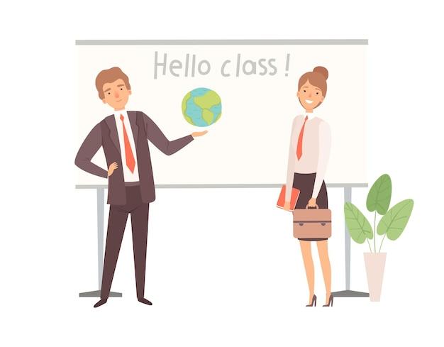 Personajes de profesores. mujer hombre feliz cerca de la pizarra interactiva, regreso a la escuela