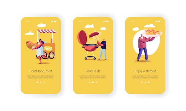 Personajes que compran comida callejera página de la aplicación móvil plantilla de pantalla incorporada