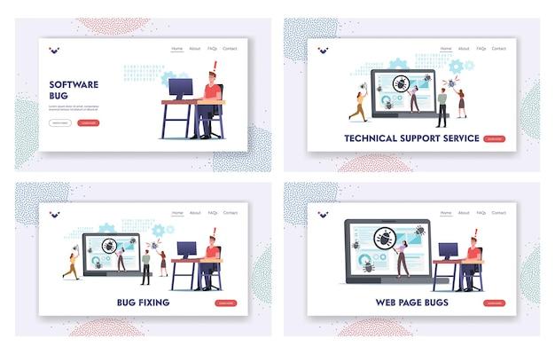 Personajes que corrigen errores en un enorme conjunto de plantillas de página de destino para pc. proceso de desarrollo de software, optimización, programa de depuración o código para computadora portátil. tecnologia computacional. ilustración de vector de gente de dibujos animados