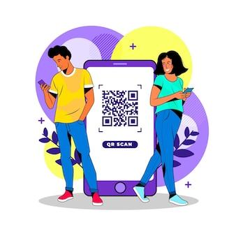 Personajes que escanean códigos qr en sus teléfonos