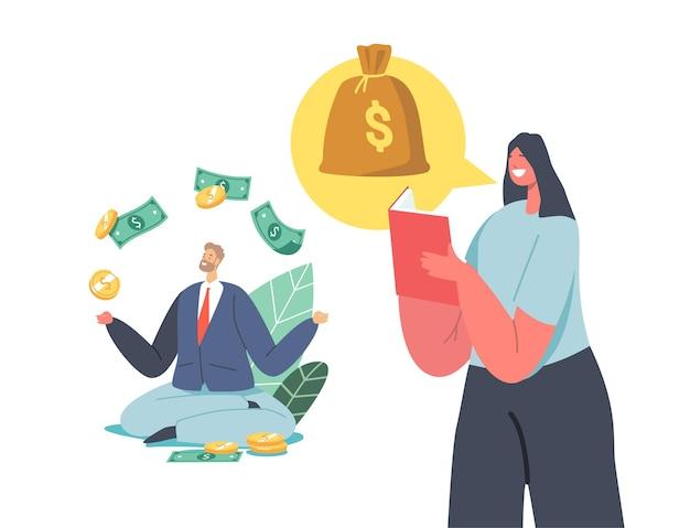 Personajes que ganan dinero, obtienen ingresos pasivos. inversión en el mercado de valores, monetización en línea, trabajo remoto, trabajo independiente, beneficio debido al concepto de actividad de alquiler. ilustración de vector de gente de dibujos animados
