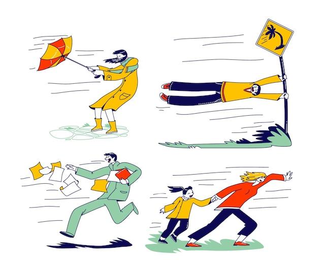 Personajes que luchan con viento fuerte, mujer con paraguas destruido tratando de protegerse de la tormenta y la lluvia