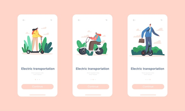 Personajes que montan la plantilla de pantalla a bordo de la página de la aplicación móvil de transporte eléctrico. la gente usa scooter, hoverboard y bicicleta, transporte ecológico para el concepto de habitante de la ciudad. ilustración vectorial de dibujos animados