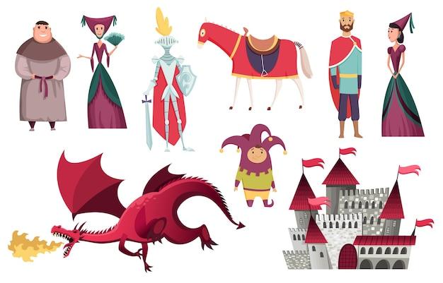 Personajes del reino medieval de la edad media, diseño de ilustraciones del período histórico