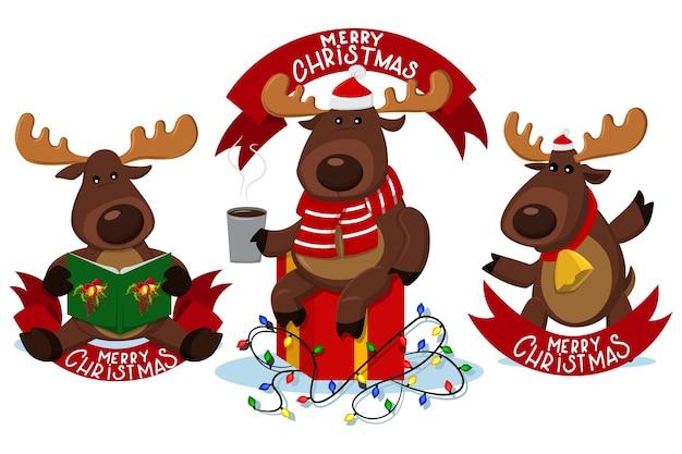 Personajes de renos navideños con banner de cinta roja