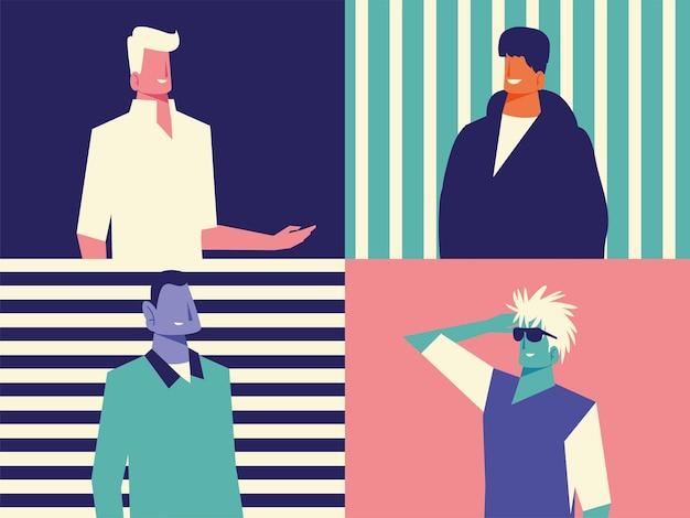 Personajes de retrato de hombres de diversidad sobre fondo rayado conjunto ilustración vectorial