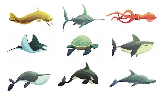 Personajes retro de dibujos animados de animales submarinos del océano con pez espada y pez espada