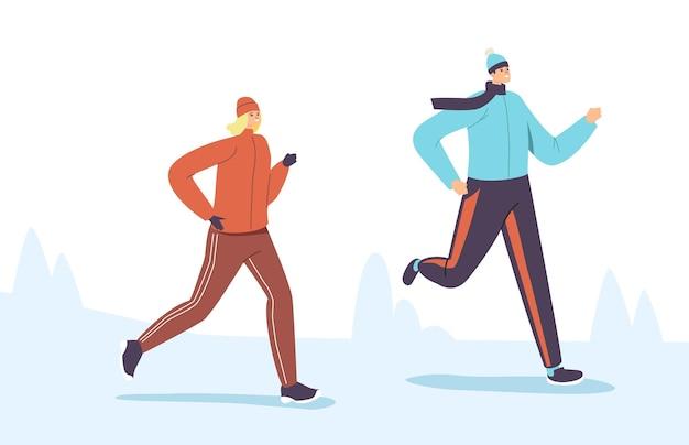 Personajes en ropa deportiva abrigada corriendo maratón de invierno