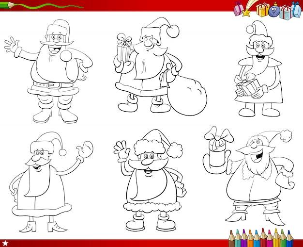 Personajes de santa claus para colorear página del libro