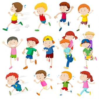 Personajes simples de niños corriendo ilustración