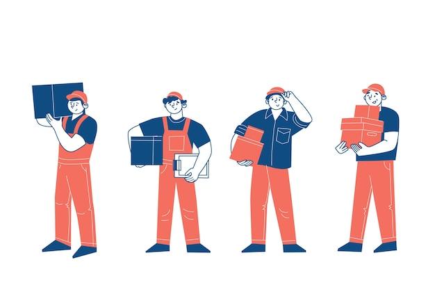 Los personajes son mensajeros. hombres repartidores de mercadería, bodega, transporte de cajas, carga, paquetes postales. la profesión de repartidor. ilustración vectorial