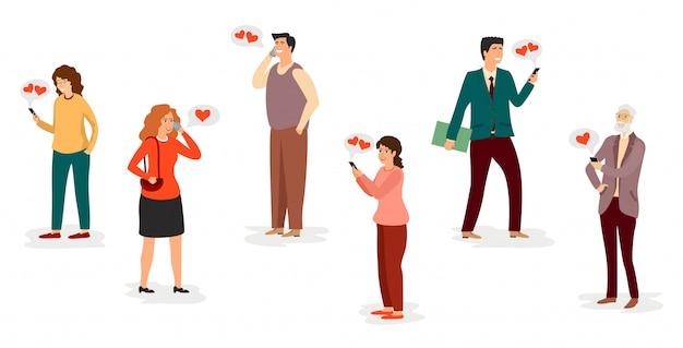 Personajes con teléfonos inteligentes. amor a distancia. los adultos se comunican por teléfono. mensajes de amor en el teléfono conjunto de hombres y mujeres enamorados.