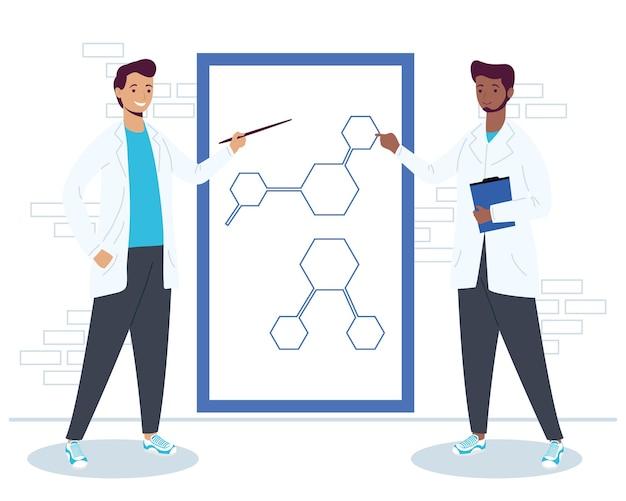 Personajes de trabajadores científicos interraciales masculinos