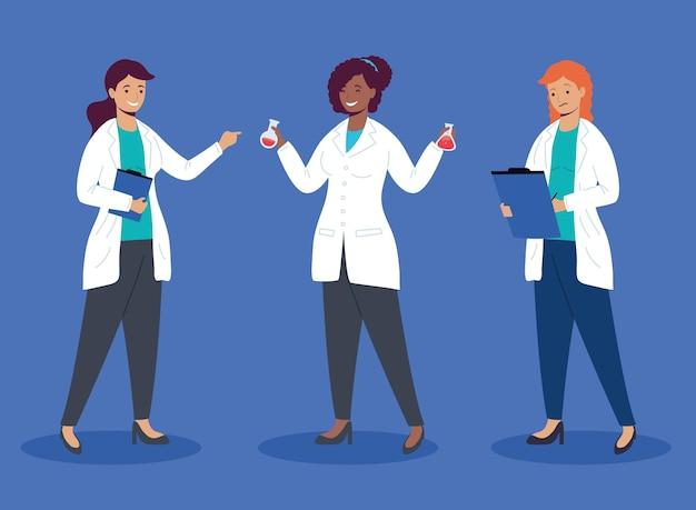 Personajes de trabajadores interraciales de niñas científicas