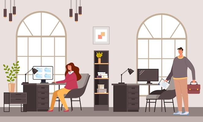 personajes de trabajadores de oficina de personas de negocios trabajando juntos