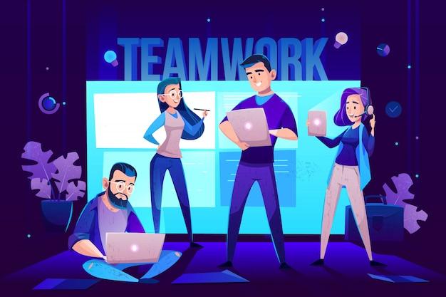 Personajes de trabajo en equipo, operador y equipo frente a la pantalla para presentaciones.
