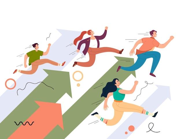 Personajes de trabajo en equipo de personas corriendo camino a seguir.