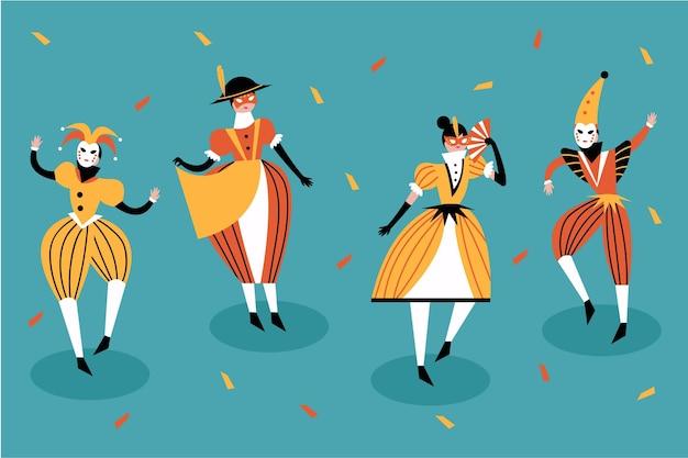 Personajes en trajes de carnaval italiano con confeti.