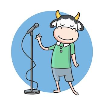 Personajes de vaca de dibujos animados están cantando.