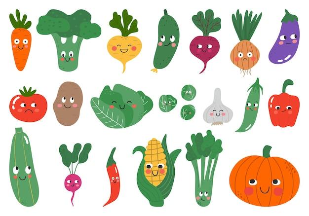Personajes vegetales de divertidos dibujos animados con expresión facial