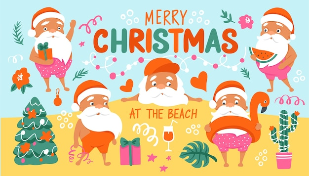 Personajes de verano santa. colección tropical christmas y happy new year en un clima cálido. lindo santa claus e inscripción de letras - feliz navidad en la playa