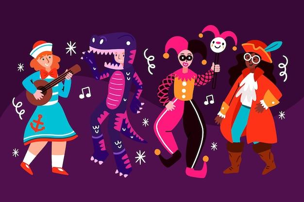 Personajes vestidos con trajes de carnaval rodeados de confeti.