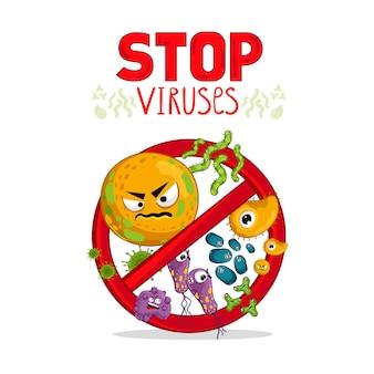 Personajes de virus de dibujos animados aislados