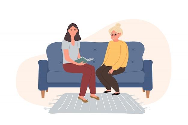 Personajes voluntarios están leyendo un libro de una mujer mayor de cabello gris sentada en el sofá azul.