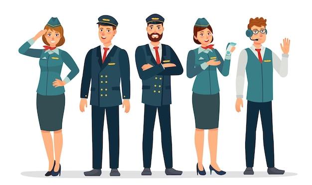 Personal de aeronaves. tripulación aérea en uniformes de pilotos, azafatas y auxiliar de vuelo. grupo de empleados del aeropuerto. concepto de vector de personal de aerolínea. personajes femeninos y masculinos juntos
