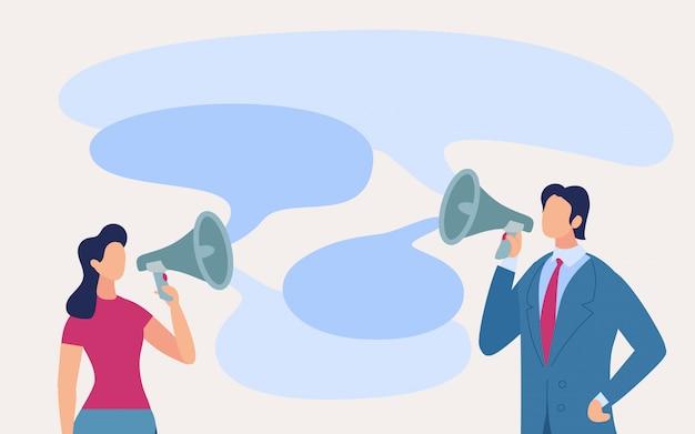 Personal de comunicación de carteles en dibujos animados de tonos altos.