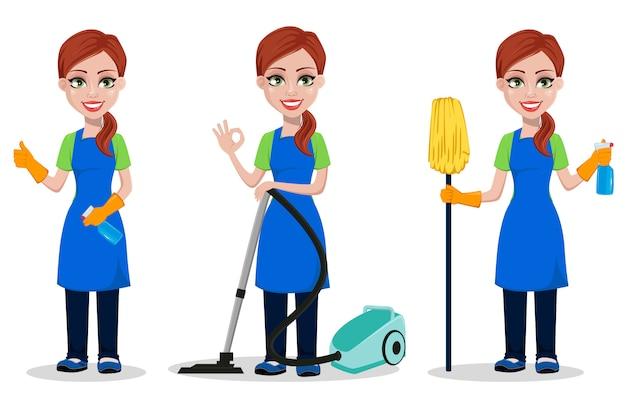 Personal de la empresa de limpieza en uniforme